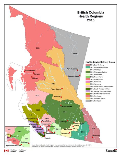 map of canada bc map 12 columbia health regions 2015