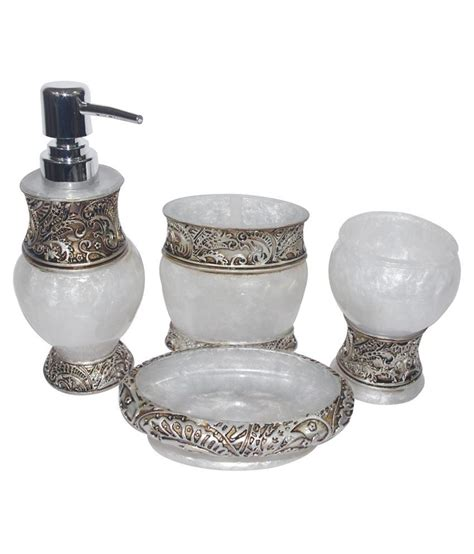 White And Silver Bathroom Accessories Ge Electrotech White Silver Acrylic Bath Accessory Set Of 4 Buy Ge Electrotech White Silver