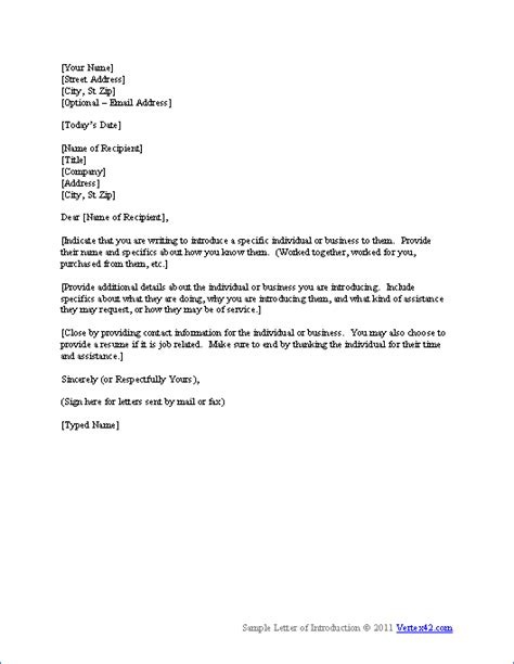letter of introduction template letter of introduction for employment