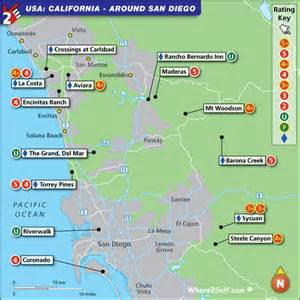 golf courses in map san diego golf map with top golf courses