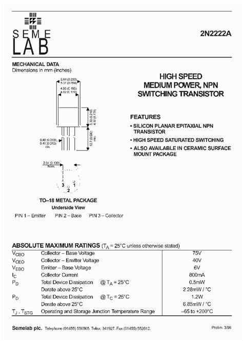 datasheet transistor npn 2n2222a 2n2222a datasheet pdf free programs filecloudskills