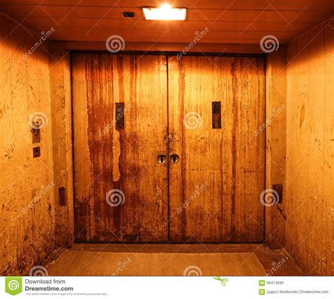 rusty closed elevator doors stock photo image