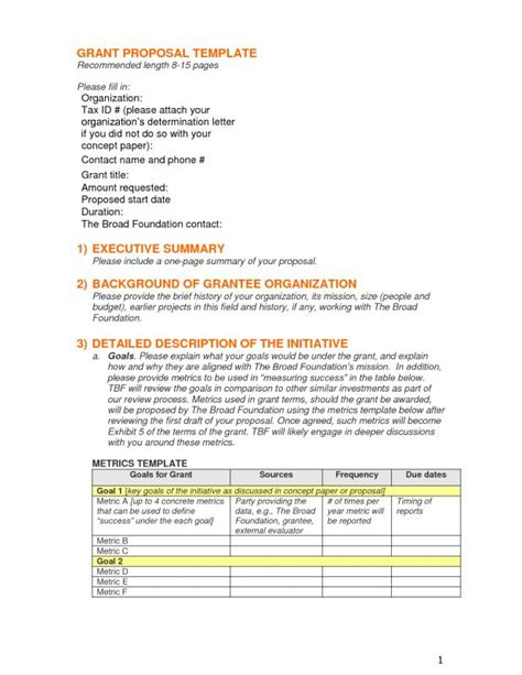 Grant Proposal Template Template Business Grant Format Template