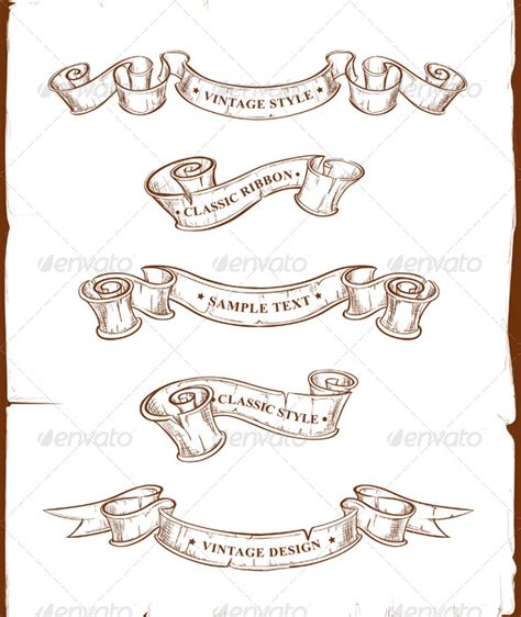 ribbon banner tattoo designs vintage ribbons set graphicriver