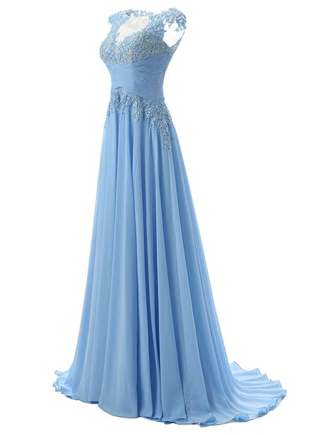 Dress E fashion scoop appliques a line chiffon light blue prom