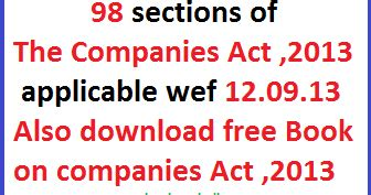 corporations act section 50 98 section of the companies act 2013 applicable wef 12 09