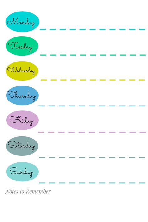 monday through saturday calendar template 9 best images of printable weekly schedule