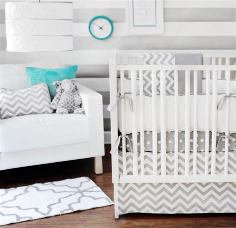 gray baby bedding set chevron bedding in the nursery or toddler room
