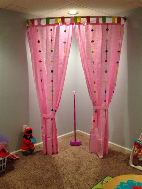 Curtains For Playroom Here S A Playroom Stage Idea I Used A Curved Shower Curtain Rod It Is A Zenith Brand From