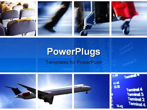 powerpoint themes transportation transport concept with airplane and people in in action