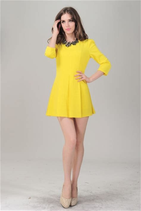 Dress Model Style Impor Yellow Purple Pink yellow sleeve back zipper pleated skater dress