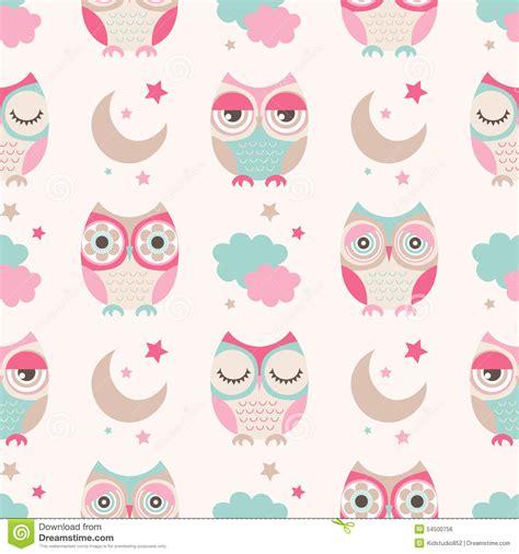 seamless cartoon owls birds pattern stock vector image