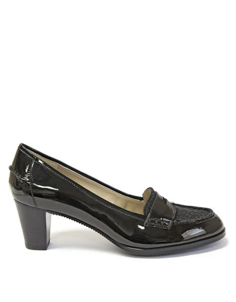 high heeled loafers black tracy ricochet high heel loafers in black black