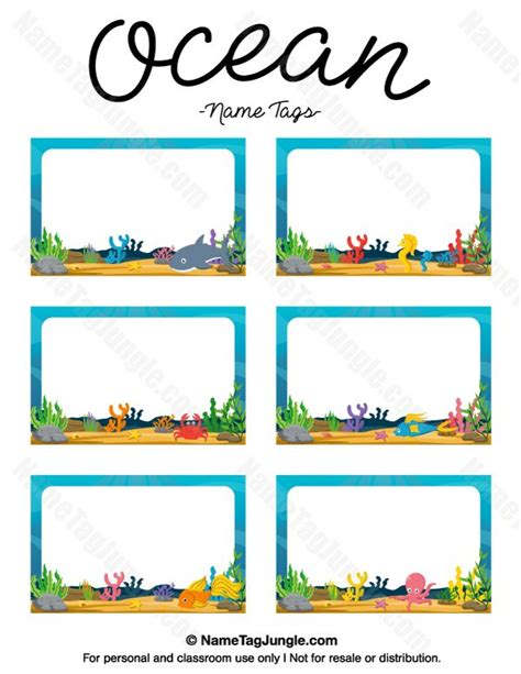 printable under the sea name tags free printable ocean name tags the template can also be