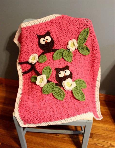 Crochet Owl Blanket Free Pattern by Crochet Nursery Owls Ripple Blanket With Free Pattern