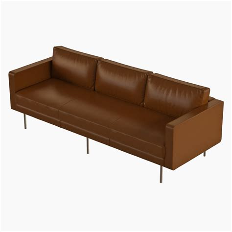 west elm leather sofa west elm axel leather sofa 3d model cgstudio