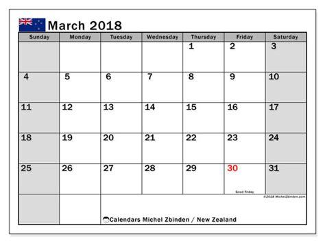 printable monthly calendar 2018 nz calendar march 2018 new zealand