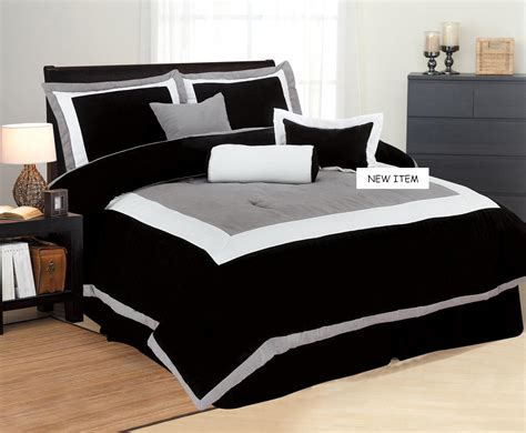 new king bedding black white gray suede comforter set