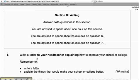 gcse writing past papers aqa gcse foundation writing section