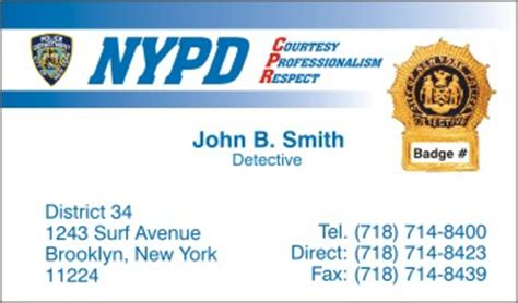 Nypd Business Card Template by Policebusinesscards Display Business Cards