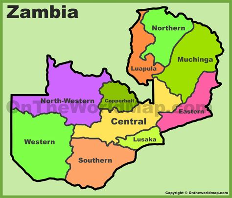 zambia map zambia provinces map