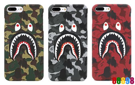 Iphone 6 6s Bape Bathing Ape Stickerbomb Shark Hardcase Cover a bathing ape bape abc camo shark phone cover