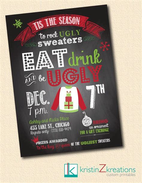 Ugly Christmas Sweater Party Ideas By Funky Christmas Sweaters Sweater Invite Template