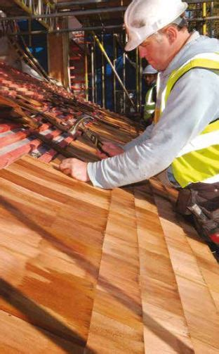 install cedar shingles   pitched roof roofing