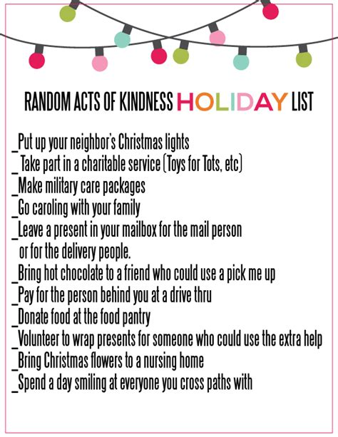 random acts of kindness for the holidays list