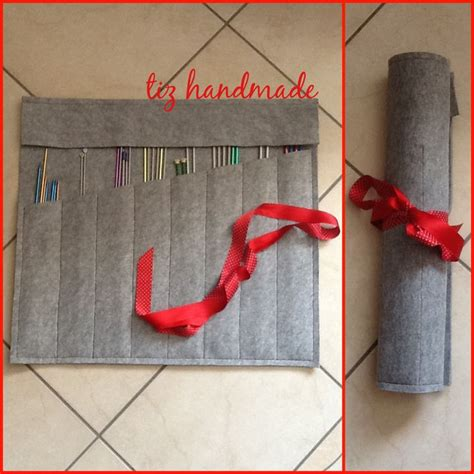 knitting needle pattern sewn felt knitting needle holder simple overflap at top