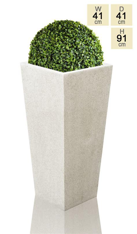 91cm polyterrazzo white flared square planter 163 109 99