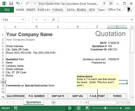Price Quote With Tax Calculation Template For Excel Excel Quote Template