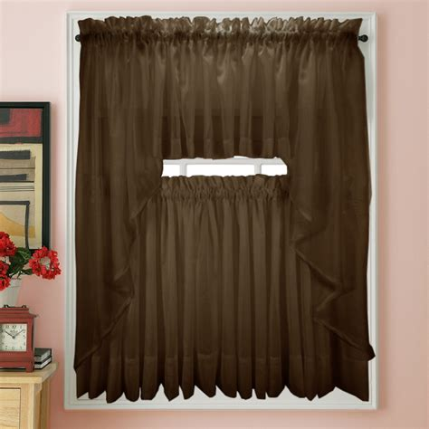 Sheer Tier Curtains Elegance Voile Chocolate Sheer Tier Panels Bedbathhome