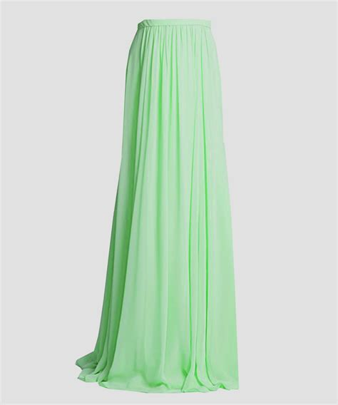 plus size lime green flowing maxi chiffon skirt