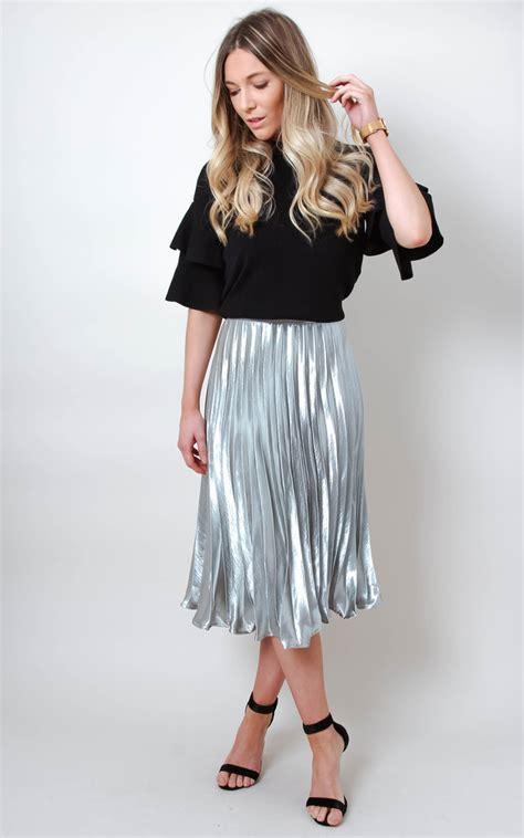 Silver Metallic Satin Pleated High Waist Midi Skirt   SilkFred