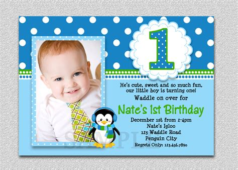 1st Birthday Card Invitation Template by Penguin Birthday Invitation Penguin 1st Birthday Invites