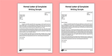 Complaint Letter Ks2 Formal Letter Of Complaint Writing Sle Esl Writing A Letter