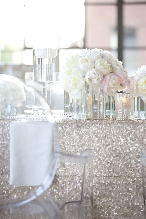 white table covers weddings wedding table decor sequined table covers