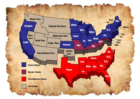 map of us states civil war civil war facts