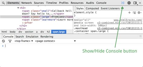 chrome developer console using the console chrome
