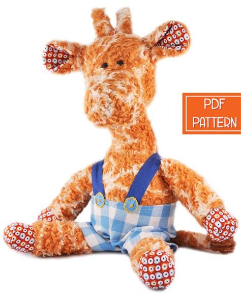 printable animal toys printable pdf sewing pattern for a giraffe soft toy free