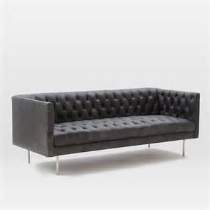 modern chesterfield sofa modern chesterfield leather sofa 79 quot west elm