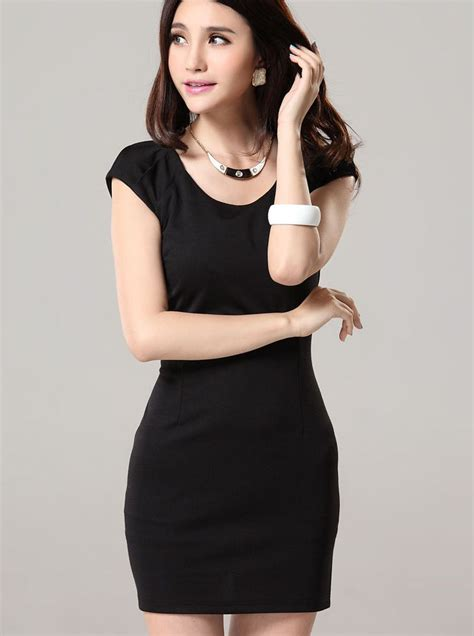 Dress Black From Korea Korean Fashion Solid Color Sleeve Black Dress