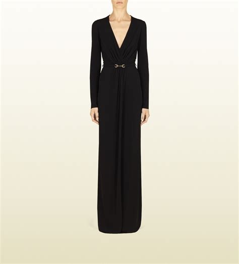 gucci black dress with horsebit belt in black lyst