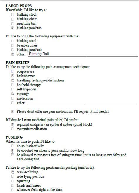 Birth Plan Worksheet by Ryding Through It Birth Plan