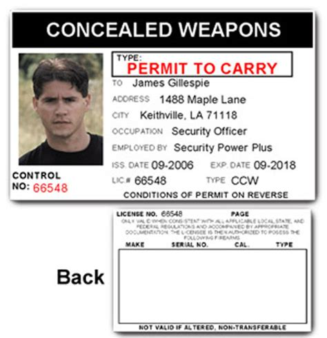 concealed carry permit concealed weapons permit pvc id card