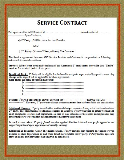 service contract contract templates free word templates