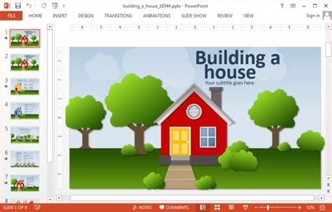Building A House Online by Animated Building A House Powerpoint Template Powerpoint