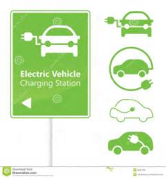 Electric Vehicle Charging Stations Signs Electric Vehicle Charging Station Road Sign Royalty Free