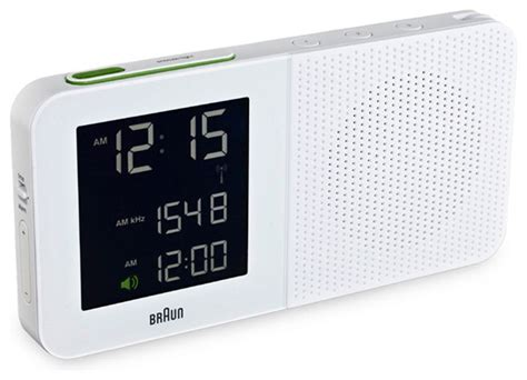 digital alarm clock radio white braun modern  horne